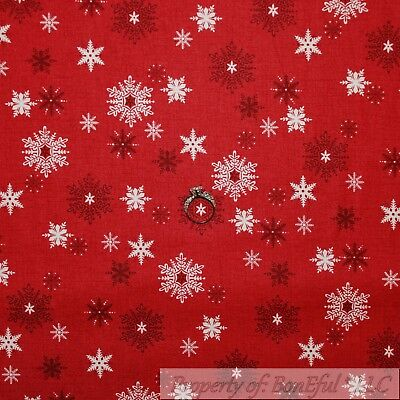 BonEful Fabric FQ Cotton Quit Red Maroon White VTG Country Xmas Snow*Flake Small