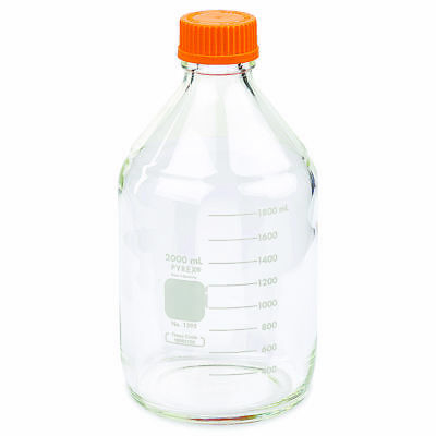 PYREX 2L Round Media Storage Bottles, with GL45 Screw Cap (Single)