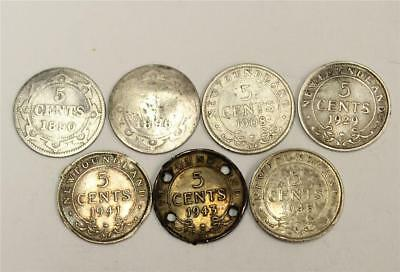 1890 1896 1908 1929 1941 1943 1945 Newfoundland 5 Cents silver coins damaged