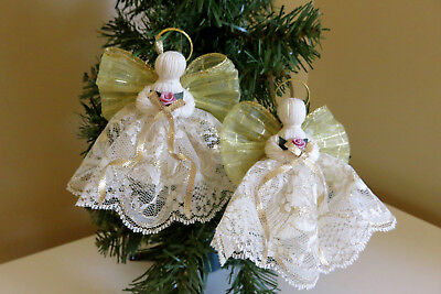 2 Gold Handmade Lace Angel 4 IN. Christmas Angel Gold Crafts Victorian Halos