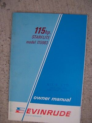 1969 Evinrude 115 HP Starflite 115983 Outboard Owner Manual MORE IN STORE  S