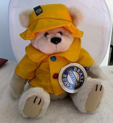 """Vintage Brass Button Bear """"Harper"""" The Bear of Health New With Tags"""