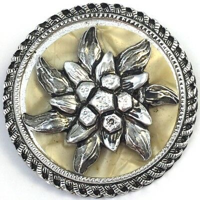 Vintage Scarf Clip Holder Edelweiss Flower Western Germany Costume Jewelry