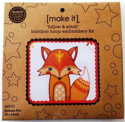 Make It Dream Fox 14Cm X 14Cm  Bamboo Hoop Embroidery Kit Suit Beginner