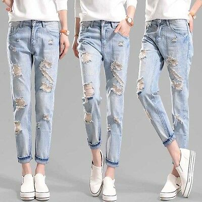 Newly Women Hole Destroyed Ripped Distressed Slim Denim Pants Jeans Trousers
