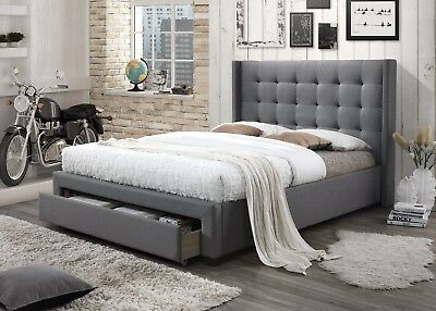 Rocky Styling Wing Queen Size Fabric Bed Frame with 1 Drawer - Light Grey