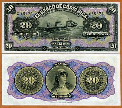 Costa Rica, 20 Pesos, 1899, P-S165r, aUNC > Woman, Ship