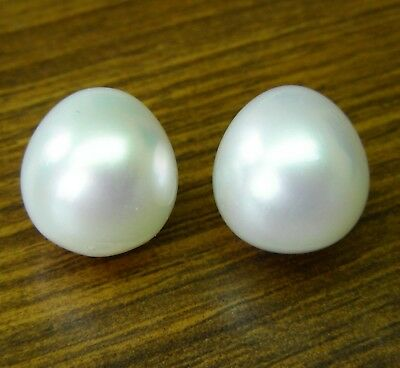 WHITE SOUTH SEA 15.4mm! PEARLS PAIR UNDRILLED 100% UNTREATED +CERT AVAILABLE