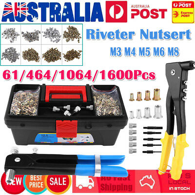 61-1600PCS Rivnuts Rivet Nutsert Insert M3-M8 Heavy Duty Nut Gun Tool Box Kit AU