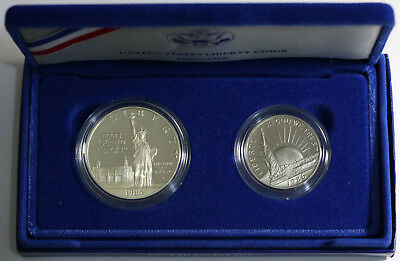 1986 S US Liberty Proof Set - Silver Dollar and Clad Half Dollar Mint Packaging