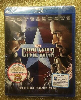 Captain America: Civil War (Blu-ray Disc, 2016) NEW; Marvel 100% Authentic