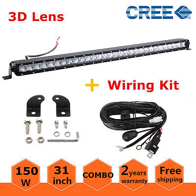 """Slim 31"""" 150W Single Row LED Light Bar Combo Ford Truck 4WD Driving+Wiring Kit"""