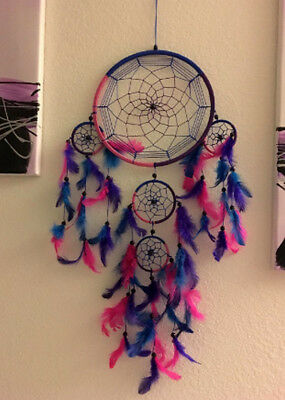 Caught Dreams Dream Catcher Handmade Traditional Royal Blue Pink & Purple 10.5""