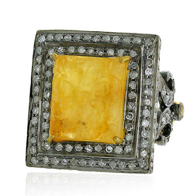 Carved Sapphire Diamond 18K Gold 925 Sterling Silver Ring Fashion Jewelry Hy