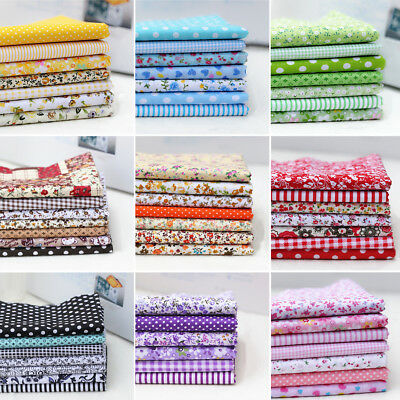 7Pcs Assorted Pattern Floral Cotton Fabric Cloth 25cm*25cm For Sewing Crafts DIY