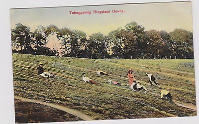 Ringstead Downs Tobogganing Col Ppc Pu 1909