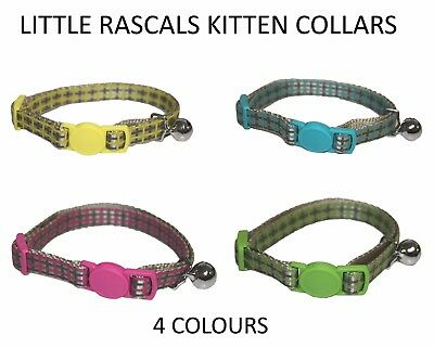 New Little Rascals Kitten Collars W/ Safety Buckle & Bell Blue Yellow Pink Green