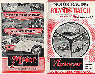 MOTOR RACING BRANDS HATCH SUNDAY, MAY 20th, 1956, PROGRAMME.