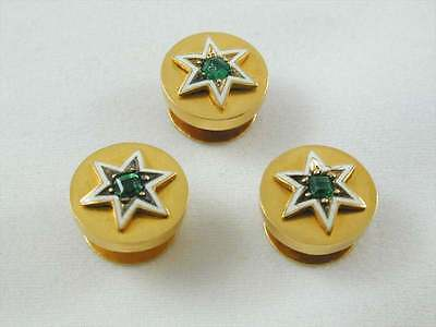 Antique Art Nouveau 15Ct Gold Emerald Set Star Design Gents Stud Set
