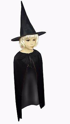 Girls Witches Cape & Hat Ladies Halloween Cloak Costume Fancy Dress Dracula Goth