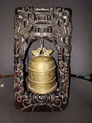 antique CHINESE TWO HEADS DRAGON GILT BRONZE RITUAL BELL ON wooden STAND