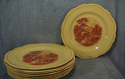"Wood & Son Grenville Enoch (6) Dinner Plates  10 1/4"" Pink Village Scene"