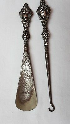 Antique Victorian Solid Silver Handle Shoe Horn & Boot /corset Lacer 1882 1802?