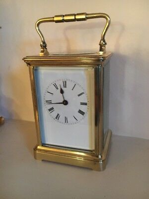 ANTIQUE CARRIAGE CLOCK  Large 7 INCHES HIGH WITH HANDLE UP in full working order