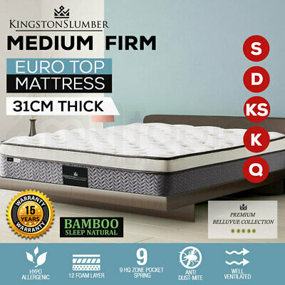 KING - QUEEN - KING SINGLE Mattress Bed Euro Top Pocket Spring Bedding Foam 31CM