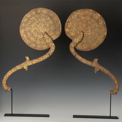 A Pair of Burmese Wooden Fans with Gilded Gold and Glasses