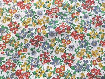Vintage 1940's Cotton Dress Making Fabric All Over Floral Design