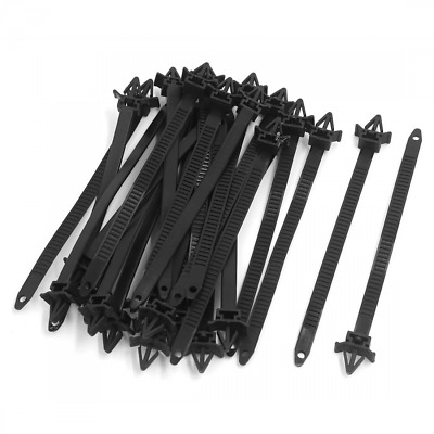 uxcell 25pcs 10mmx150mm Adjustable Nylon Push Mount Cable Ties Zip Wire Black