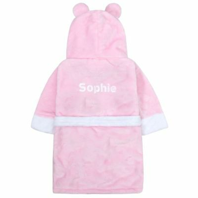 Personalised Embroidered Baby Girl's Teddy Bear Pink Bath Robe Dressing Gown