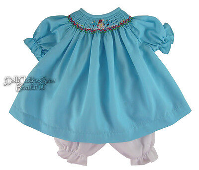 """FOR 15"""" DOLLS Aqua Smocked Dress Snowman & Bloomers fits Bitty Baby Doll Clothes"""