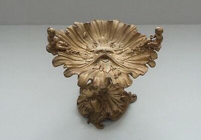 Antique French Gilt Bronze Tazza / Centerpiece, Cherubs/children, Neptune Mask