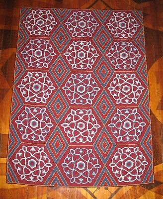 """Hand Hooked Wool Rug by Local Rug Hooker  ~TURKISH TILE~  49 1/2"""" x 36 1/2"""""""