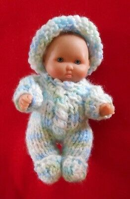 """Doll Clothes Hand Knitted Vintage Style Pastels Sleeper footed set fit  5"""" 6in."""