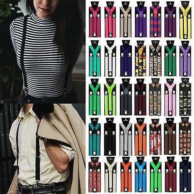 Men Clip On Suspenders 42 inch Y Back Braces Solid Color Business Casual Fashion