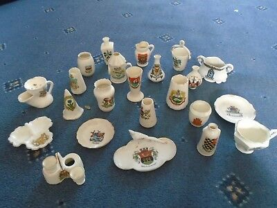 Large Collection Crested China 23 Pieces Job Lot Carlton Shelley Arcadian Etc