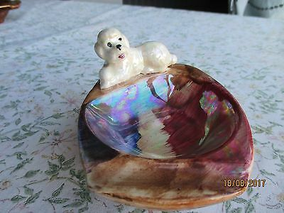 "J Fryer ""Old Court Ware"" Hand Painted & Lustered Poodle Ashtray"