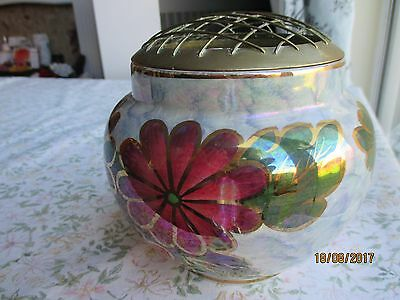 "J Fryer ""Old Court Ware"" Hand Painted & Lustered Rose Bowl & Grille"