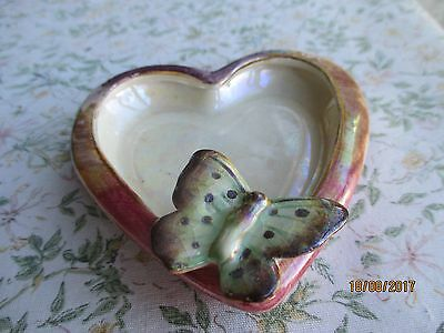 "J Fryer ""Old Court Ware"" Hand Painted & Lustered Butterfly Ashtray"