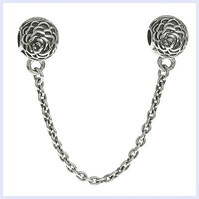 Sterling Silver Rose Stopper Clip Safety Chain Bead for European Charm Bracelet