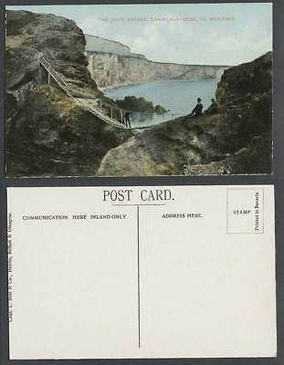 Ireland Old Colour Postcard The Rope Bridge Carrick-a-Rede Co. Wexford Men Cliff