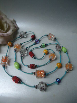 Stunning 120cm Vintage Flapper Deco Murano Coloured Venetian Glass Cord Necklace