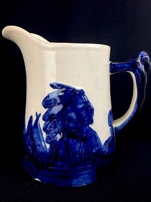 Antique Old Sleepyeye Monmouth Pottery Stoneware Picture Cobalt Blue 8""