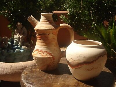 (2) Lot Vintage Nemadji Pottery Wedding Vases, Pretty Desert Colors