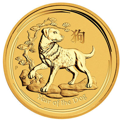 2018-P Australia Year of the Dog 1/4 oz Gold Lunar (S2) $25 Coin GEM BU SKU49079