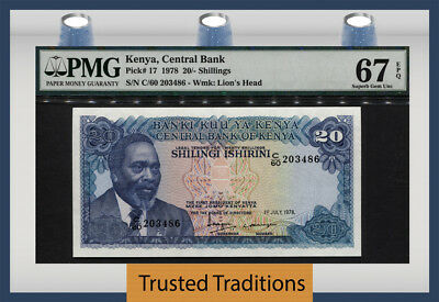 "Tt Pk 17 1978 Kenya 20/ Shillings ""lions"" Pmg 67 Epq Population Two None Finer!!"