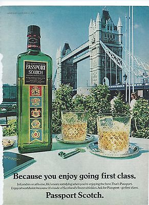 Passport Scotch Print Advertising Tower Bridge London Vintage Magazine Ad